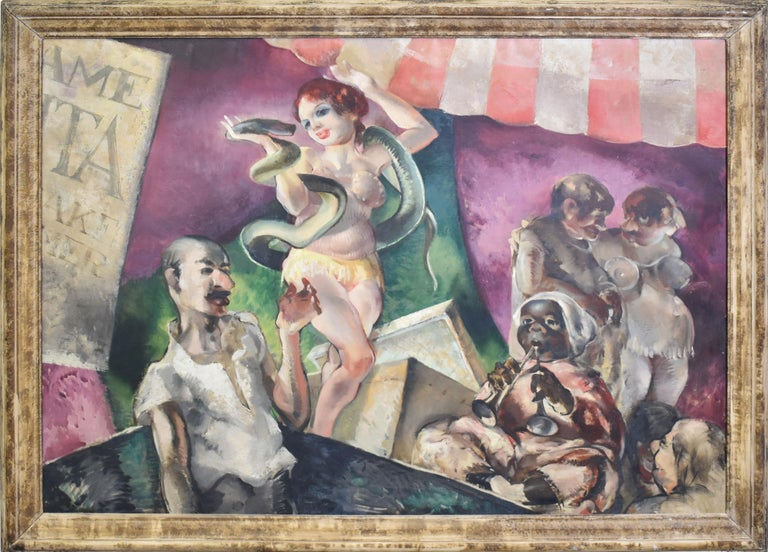 "Antique American modernist painting of a circus by Dennis Meighan Burlingame  (1901 - 1964).  Oil on canvas, circa 1935.  Signed on verso.  Displayed in a period modern frame.  Image size, 48""L x 36""H, overall 54""L x 42""H."