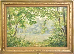 Antique Barbizon School Impressionist River Landscape Oil Painting by Rene Fath