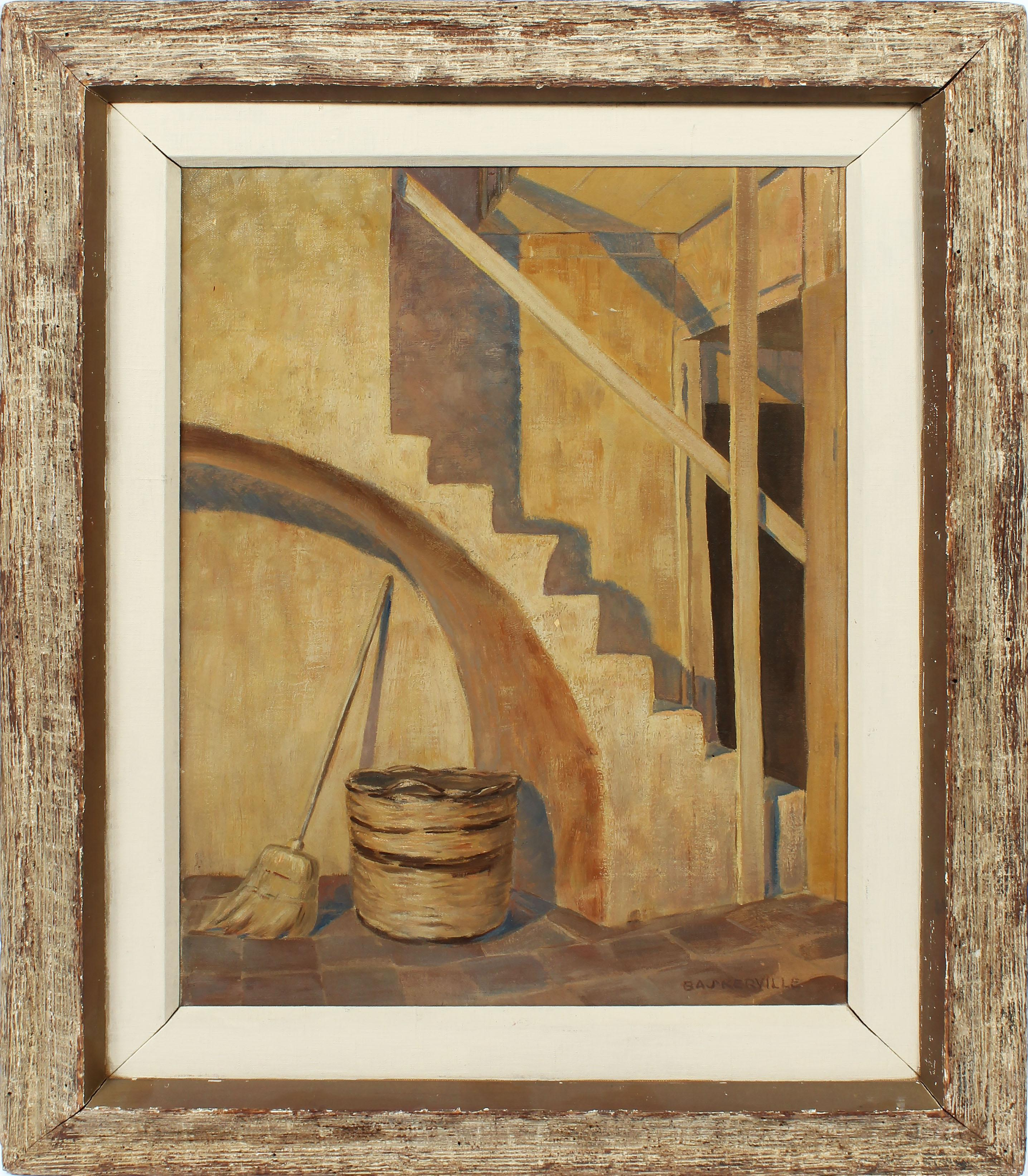 Antique Modernist Southern School Courtyard Charles Baskerville Oil Painting