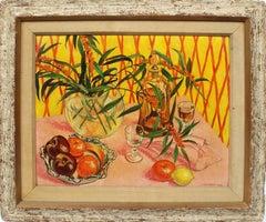 Antique Modernist Flower & Fruit Still Life Oil Painting by Charles Baskerville