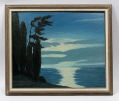 Nocturnal Modernist Landscape Oil Painting by American artist Earl Sherm 1940