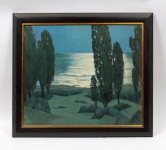 Nocturnal Modernist Landscape Oil Painting by American artist Earl Sherm 1946