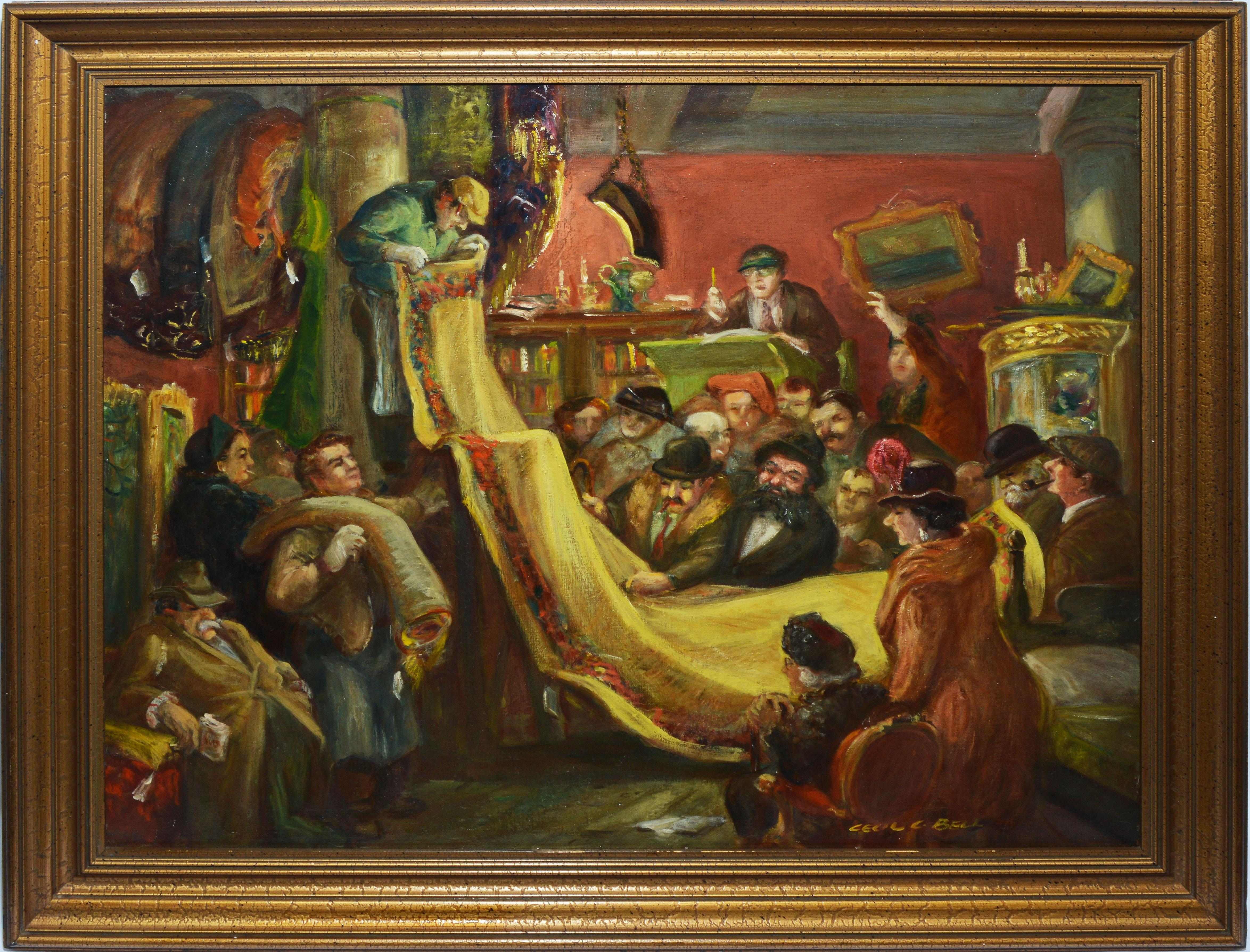 """Antique American Oil Painting, """"At The Auction"""" by Cecil Bell"""