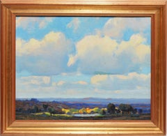 Antique American Impressionist Panoramic Landscape Oil Painting by Harry Powers
