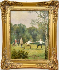 Antique English Sporting Art, Fencing in the Woods, Original Rare Oil Painting