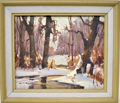 Walter T Sacks Antique Impressionist New York Winter Snow Landscape Oil Painting