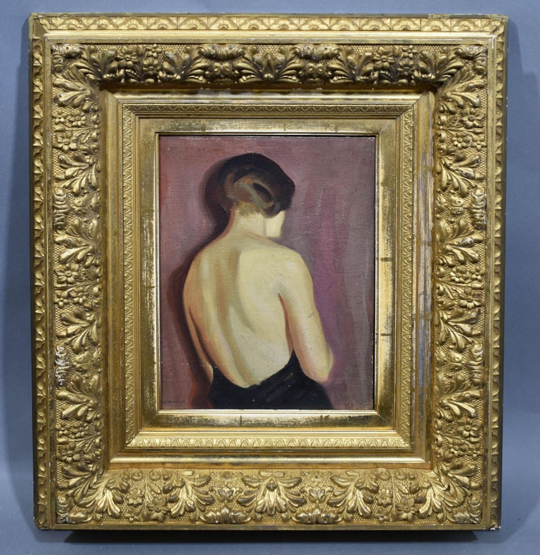 Art Deco Elegant 1930's Portrait Oil Painting, Young Woman by August Nordhausen For Sale 1