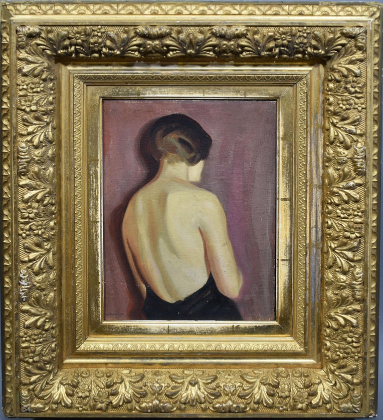 "Modernist portrait of a young woman by August Nordhausen  (1901 - 1993).  Oil on board, circa 1925.  Signed.   Displayed in a 19th century giltwood Barbizon frame.  Image size, 9""L x 12""H.  Exhibition label from the Salmagundi Club."