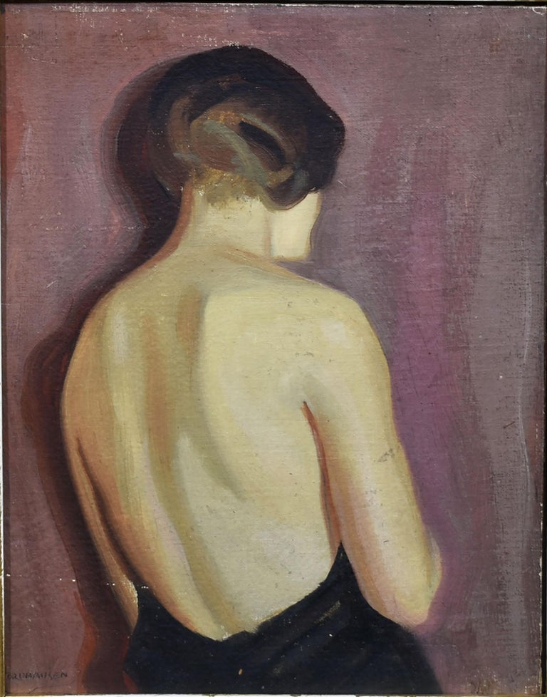 Art Deco Elegant 1930's Portrait Oil Painting, Young Woman by August Nordhausen For Sale 2