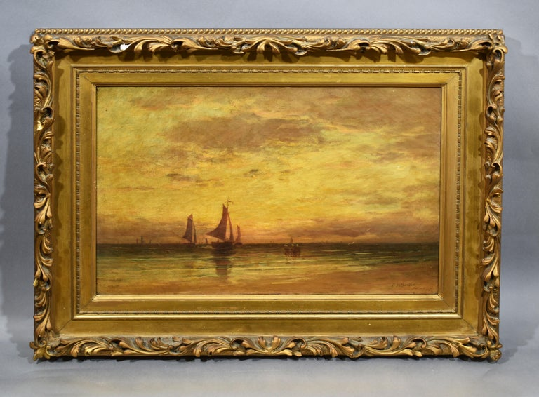 Antique American impressionist sunset seascape painting by Clarence Drew Bartlett  (born 1863).  Oil on canvas, circa 1897.  Signed.  Displayed in a period giltwood frame.  Image size, 24