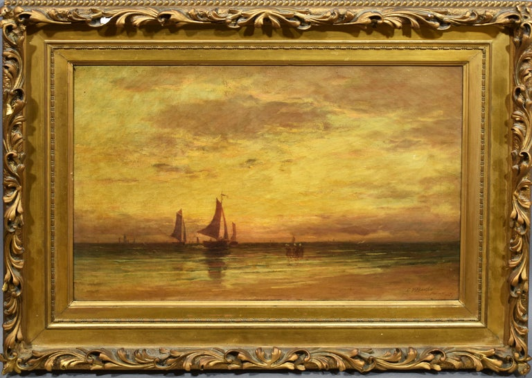 Clarence Drew Bartlett Figurative Painting - Clarence Bartlett American Impressionist Sunset Seascape Clam Beach Oil Painting