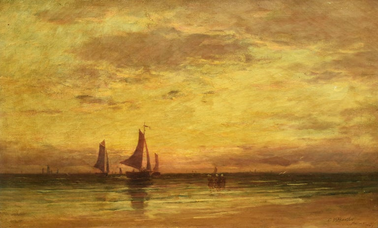 Clarence Bartlett American Impressionist Sunset Seascape Clam Beach Oil Painting For Sale 1