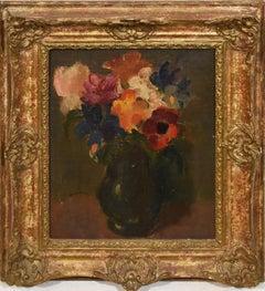 Ans Van Den Berg, Dutch Modernist Flower Still Life Oil Painting