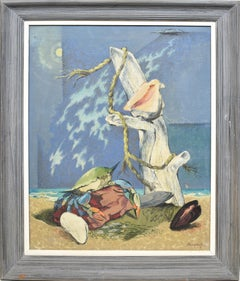 Antique American Modernist Surreal Beach Shellfish Oil Painting, Fred Buchholz