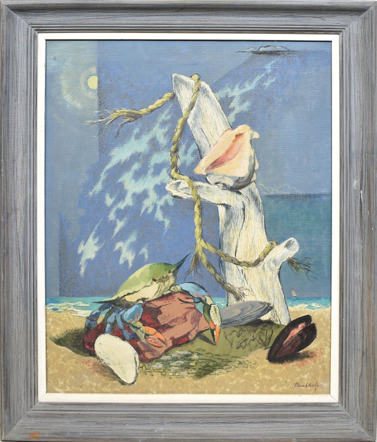 Frederick Hepner Buchholz  Landscape Painting - Antique American Modernist Surreal Beach Shellfish Oil Painting, Fred Buchholz