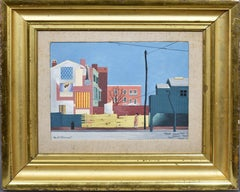 Antique American Modernist Cityscape Precisionist Street Scene Signed Painting