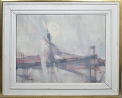 Antique American Abstract Bridge Landscape Oil Painting by Will Hollingsworth