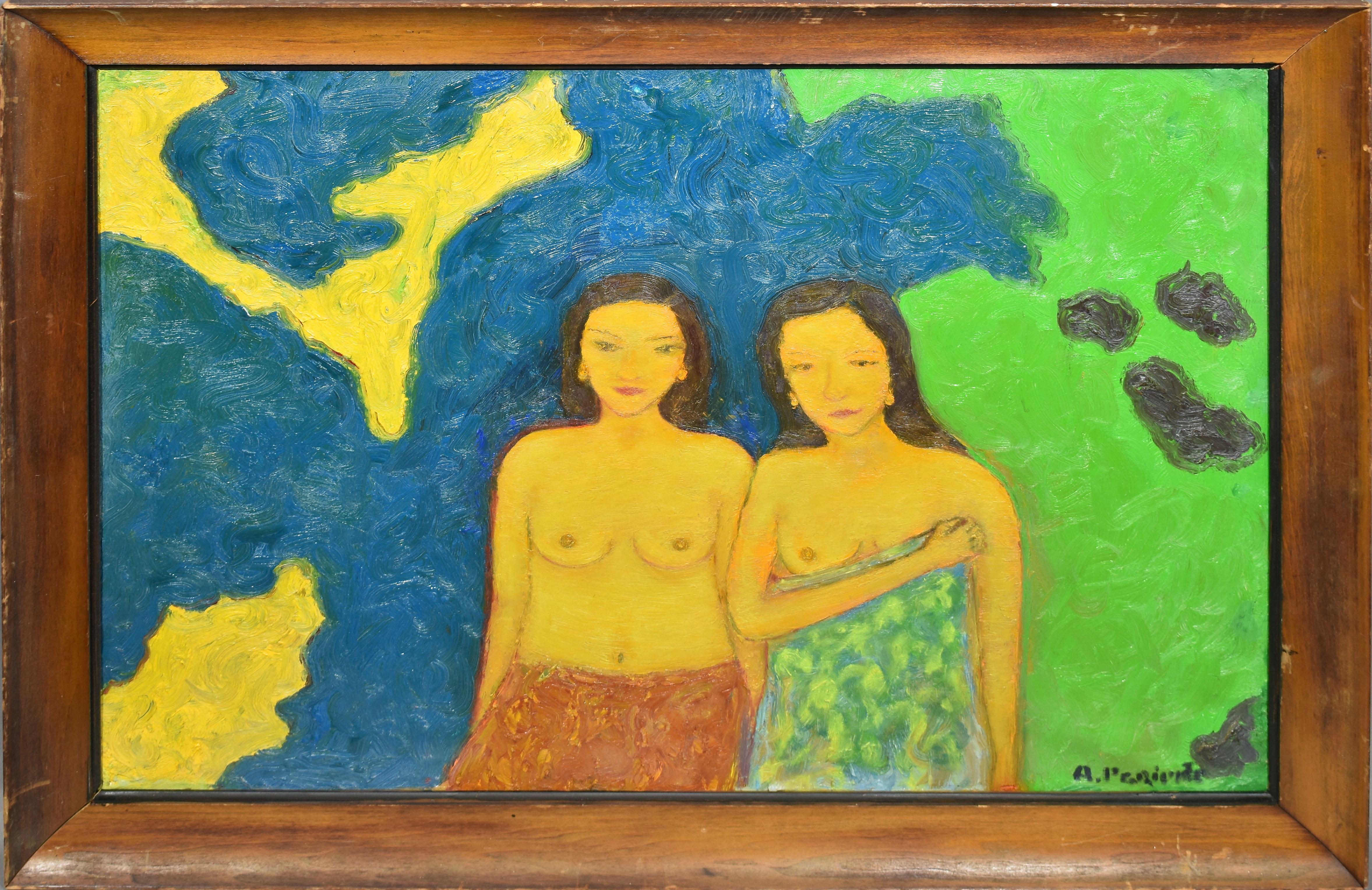 Vintage Fauvist Nude Women Landscape Original Signed Painting Abraham Pariente