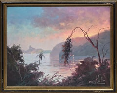 Antique Impressionist Sunset Oil Painting View of Rio by Francisco Coculilo