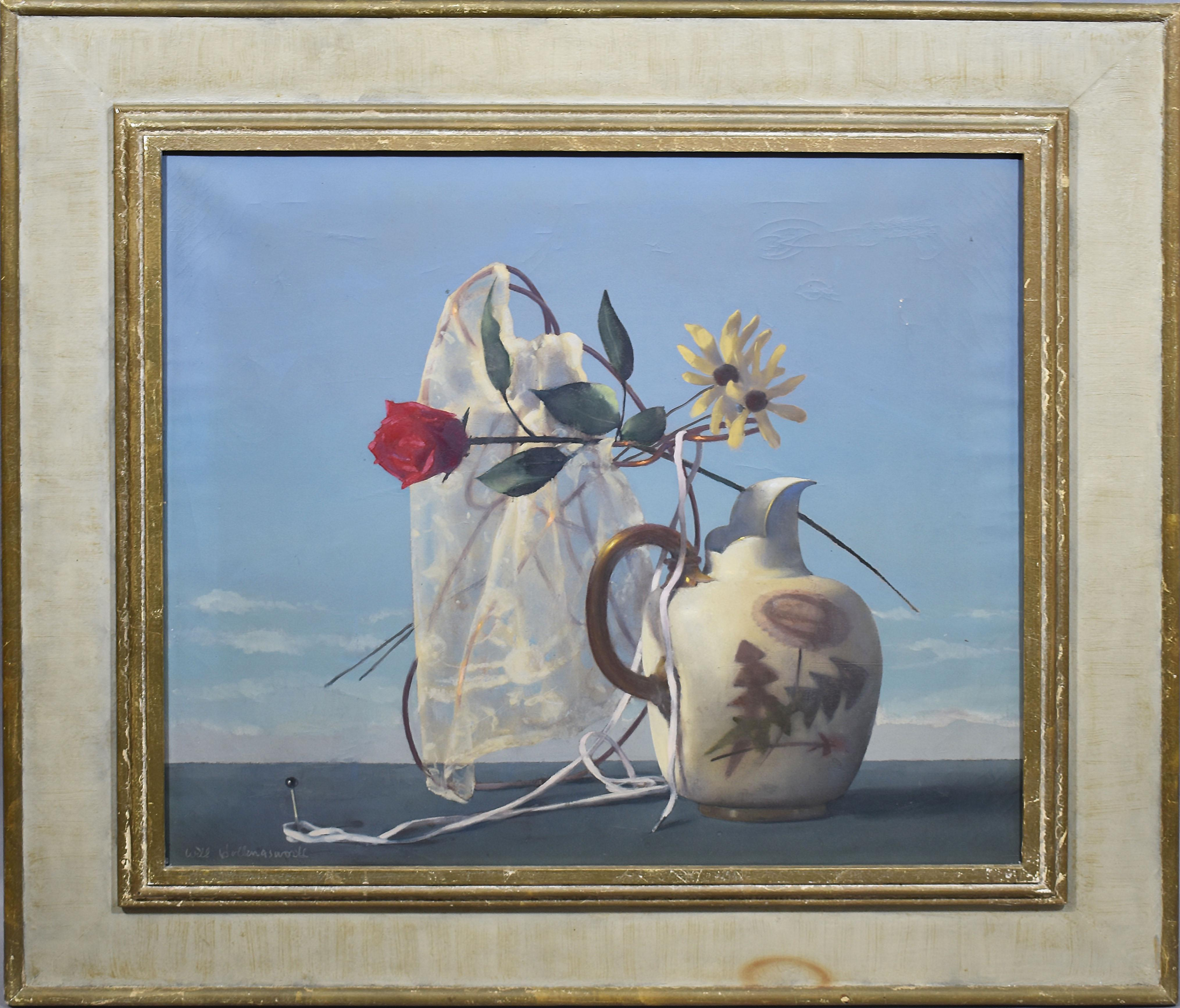 Antique American 1940s Surreal Landscape and Flower Still Life Oil Painting