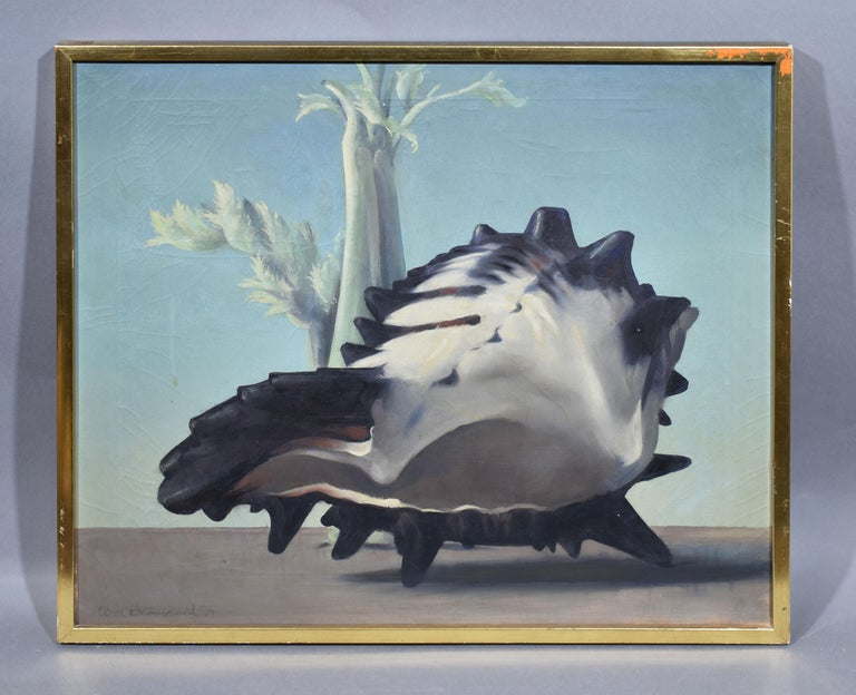 Antique American Surreal Landscape with Conch Shell by Will Hollingsworth - Painting by William Thomas (Will) Hollingsworth