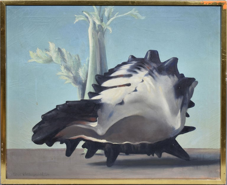 William Thomas (Will) Hollingsworth Still-Life Painting - Antique American Surreal Landscape with Conch Shell by Will Hollingsworth