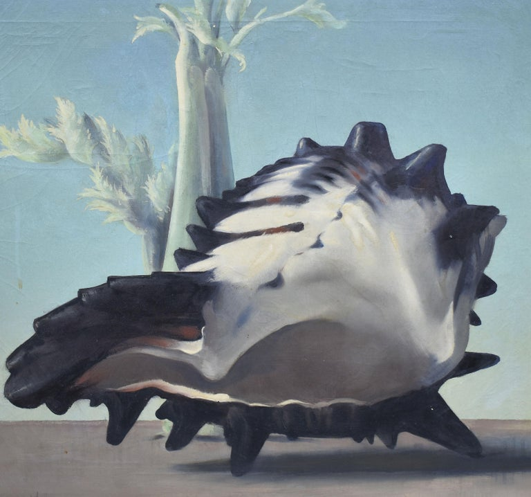 Antique American Surreal Landscape with Conch Shell by Will Hollingsworth - Gray Still-Life Painting by William Thomas (Will) Hollingsworth