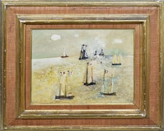 Vintage Modernist Surreal Sailboat Seascape Signed Oil Painting by Reggie Weston
