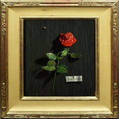 Trompe L'Oeil Realist Rose Flower Still Life Signed Oil Painting by Ernest Land