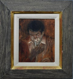 Antique American Modernist WPA Male Smoking Portrait Oil Painting  Carl Laughlin