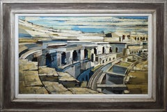 Arena at Nimes, Antique Modernist Cityscape Antique Ruins Signed Oil Painting