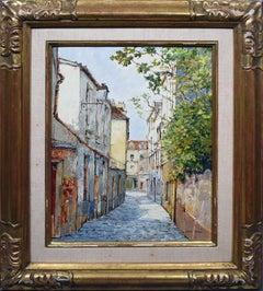 Antique French Impressionist Paris Street Scene Original Oil Painting Jean Keime