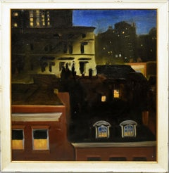 Antique American Female Modernist Nocturnal Cityscape Ashcan NYC Oil Painting