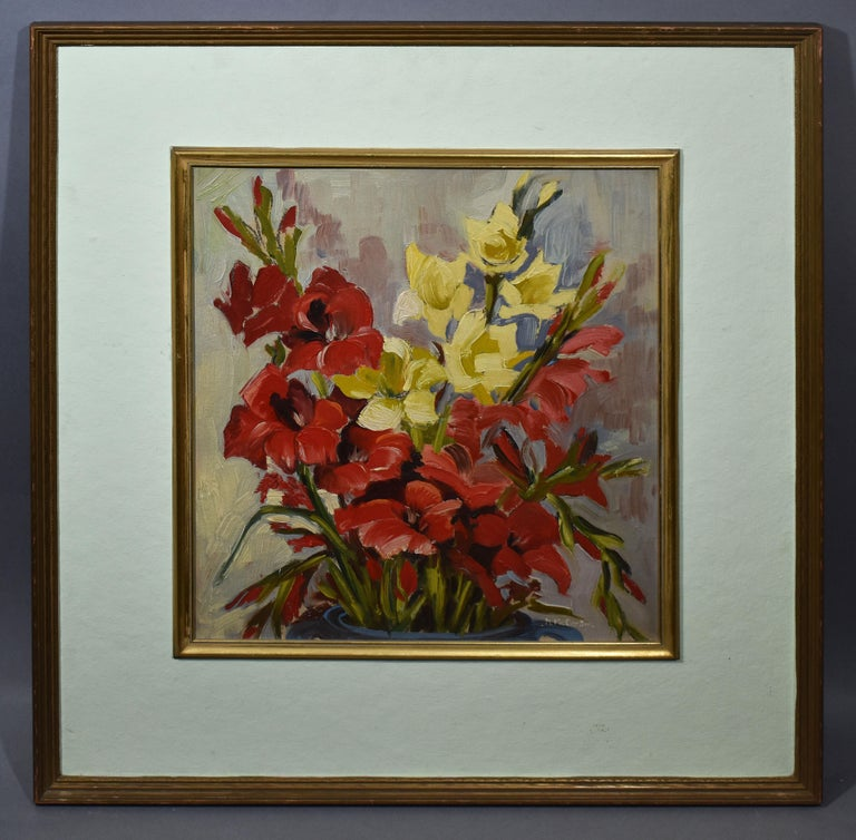 Antique American Impressionist Flower Still Life Signed Oil Painting, Mary Beich - Gray Still-Life Painting by Mary Beich