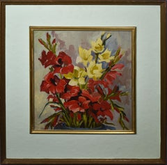 Antique American Impressionist Flower Still Life Signed Oil Painting, Mary Beich