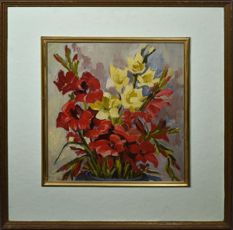 Mary Beich  Still-Life Painting - Antique American Impressionist Flower Still Life Signed Oil Painting, Mary Beich
