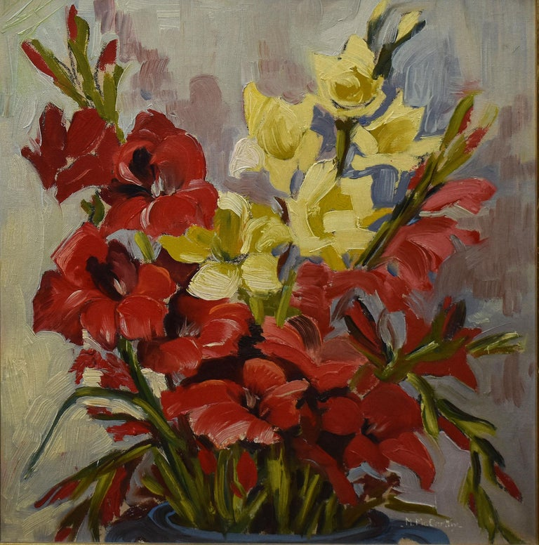 Modernist stil life of flowers by Mary Beich  (1917 - 2002).   Oil on board, circa 1945.  Signed lower right.  Displayed in a modernist frame.  Image size, 14