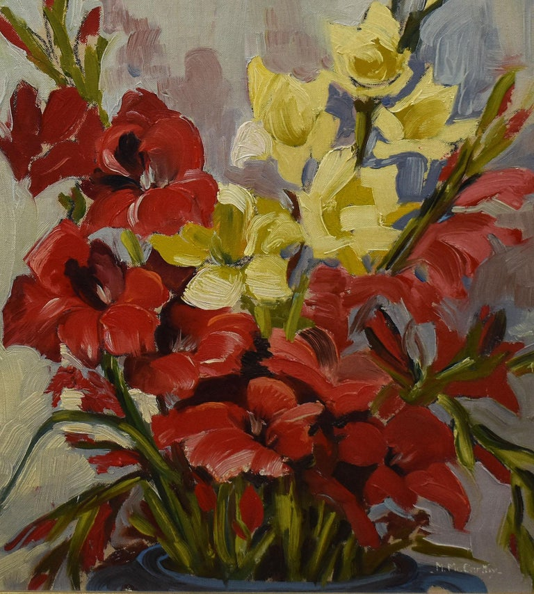 Antique American Impressionist Flower Still Life Signed Oil Painting, Mary Beich 1