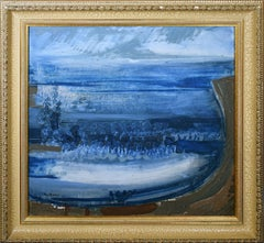 Vintage Signed French Modernist Abstract Landscape Oil Painting by Emile Marze