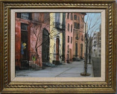 Antique American Signed Oil Painting of Greenwich Village New York Cityscape