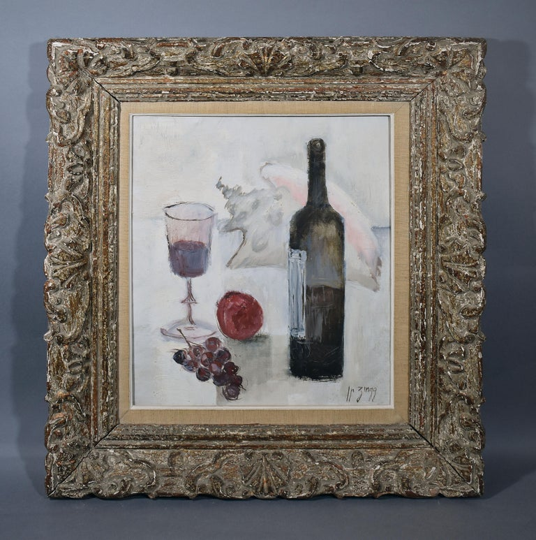 Modernist still life of wine and grapes by Jean Pierre Zingg  (born 1925).   Oil on canvas, circa 1945.  Signed lower right.  Displayed in a modernist frame.  Image size, 15