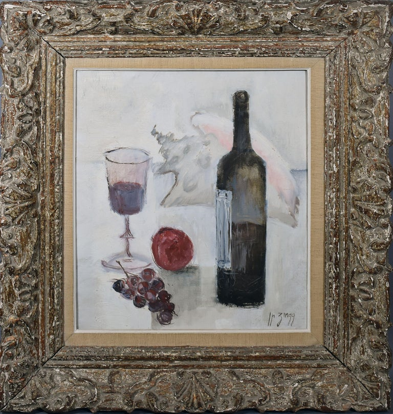 Vintage Paris Modern Still Life With Wine and Grapes Painting, Jean Pierre Zingg - Gray Still-Life Painting by Jean Pierre Zingg