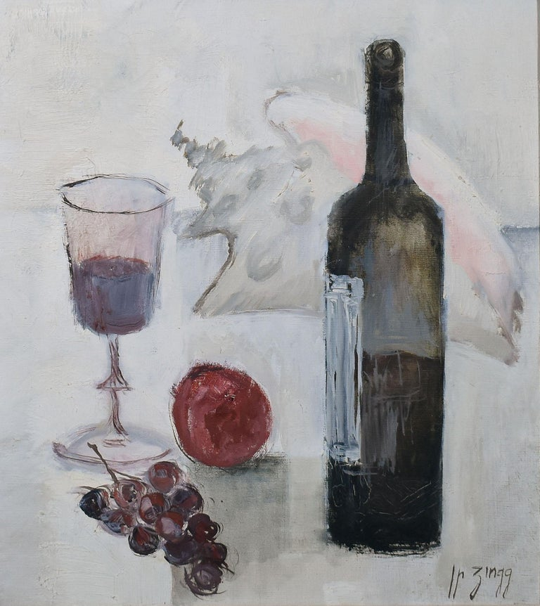 Vintage Paris Modern Still Life With Wine and Grapes Painting, Jean Pierre Zingg For Sale 1