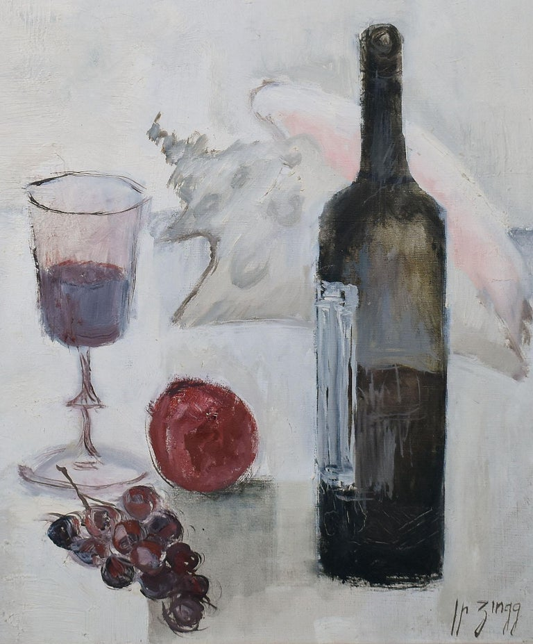 Vintage Paris Modern Still Life With Wine and Grapes Painting, Jean Pierre Zingg For Sale 2