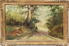 """""""Walking the Path"""" Antique American Impressionist Forest Interior Oil Painting"""