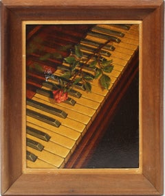 Antique American Surreal Rose Still Life on Piano Modernist Oil Painting