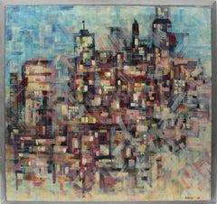 American Mid Century Modern Boston Abstract Cityscape Oil Painting Terri Priest