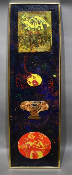Antique American Modernist Abstract Space Composition Oil Painting Martin Ries