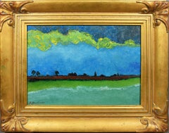 Modernist View Miami Beach Florida Landscape Signed Painting Abraham Pariente