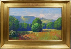 Antique American Impressionist Wild Flower Panoramic Landscape Summer Painting